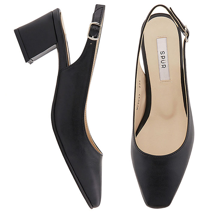 SPUR[스퍼]MS9043 Slim square slingback 블랙